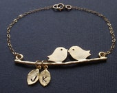 SALE- Personalized Initial Two birds love 14K gold filled bracelet
