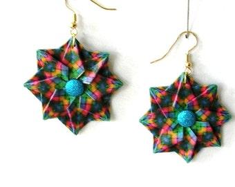 Origami Earrings -  Paper Jewelry - Origami Jewelry - Blue Earrings - Paper Anniversary - Lightweight Earrings
