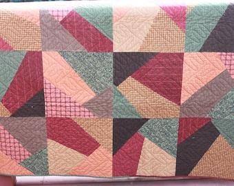 Crazy Flannel Quilt - 56 x70 Handmade Twin Quilt