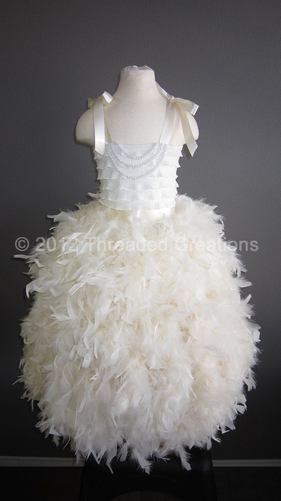 Feather Dress -  Feather Tutu Dress - Ivory Tutu Dress