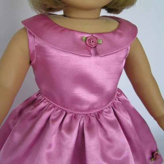 "Pink faux silk special occasion dress for your 18"" American Girl dolls"