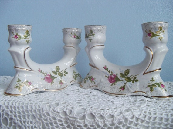 TWO MOSS ROSS Shabby Chic Candelabras Pair of 2 Chodziez Pink Rose CandleStick Holders
