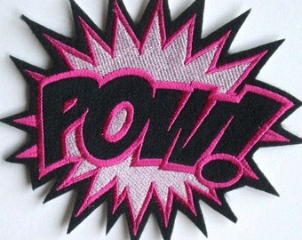 Large Embroidered POW Iron On Patch, Applique,  Girl Power, Super Hero, PINK POWER