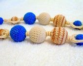 Crochet necklace / Nursing necklace / Teething necklace -Beige- Blue