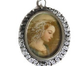 Hand Painted Pendant Brooch Antique Silver Filigree Virgin Mary Cameo Pin