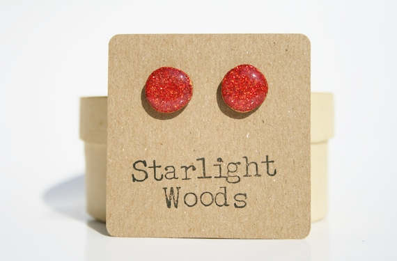 Persimmon sparkle studs post earrings persimmon summer jewelry eco fashion wood earrings Minimalist jewelry  eco friendly eco fashion
