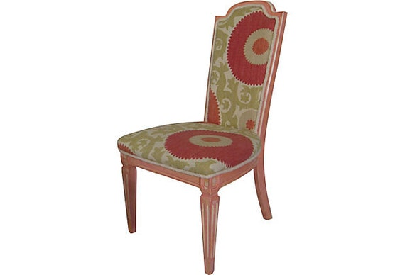 Countrified Chic Coral Pink Suzani French Side Chair ON HOLD
