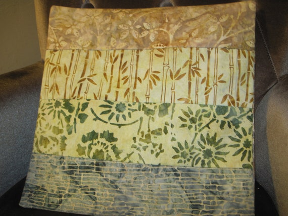 """14"""" x 14"""" PILLOW COVER - Soothing Nature Neutrals Solitude Woods Rock Wall Fine Batiks"""