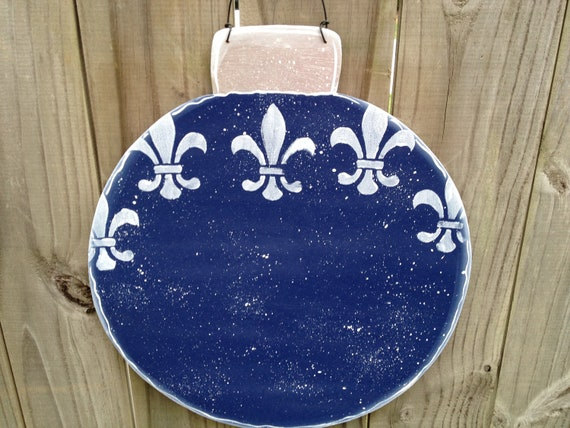Personalized Bright Blue and White Fleur De Lis Christmas Ornament Sign