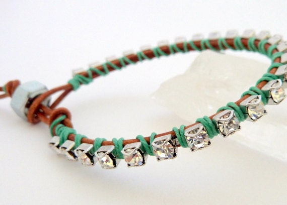 Rhinestone friendship bracelet / brown / kelly emerald green / silver / pantone color of 2013