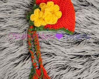 Pumpkin flower bonnet pattern