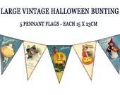VINTAGE HALLOWEEN BUNTING pennant flags printable halloween party banner Magentabelle download 119