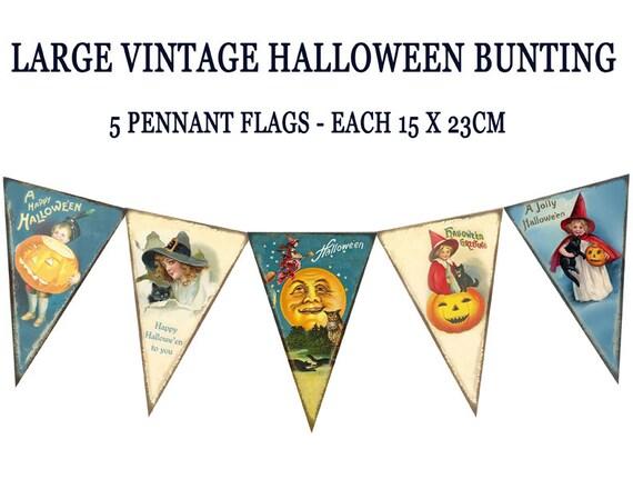 Printable Vintage Birthday Banner ~ Vintage halloween bunting pennant flags printable by