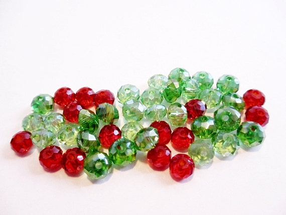 Glass Beads AB Crystal Rondelle 6mm Green and Red Mix 45 STR125