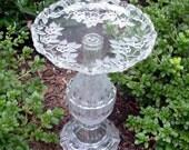 "Beautiful birdbath bird feeder garden art from repurposed glass.  Upcycled art.  ""The Rose"" is repurposed glass art."