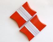 2 handmade boxes, eco gifts, pillow boxes for party or celebration, black white orange hostess giftbox