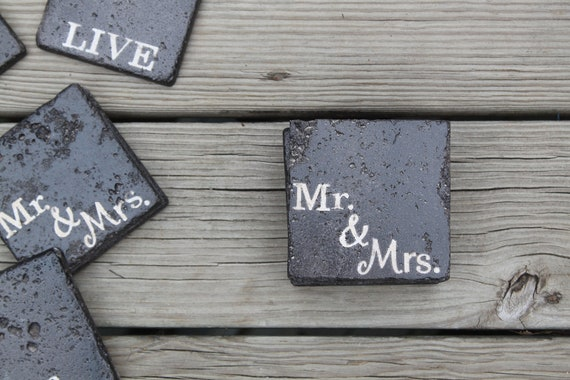 oil rubbed bronze stone coasters Mr. & Mrs. custom wedding coasters favor rustic wedding gift