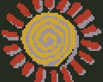Abstract Sun Cross Stitch Pattern