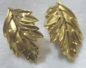 1940-1950 Vintage Trifari Gold Leaf Clip On Earrings