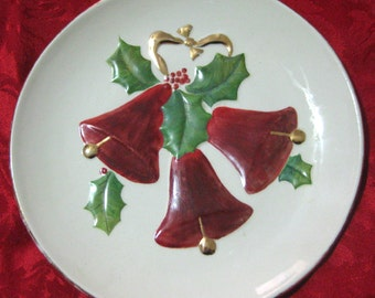 1970s Handmade-Handpainted Christmas Holiday Red Bell Plate
