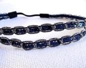 Blue Silver Headband, Stretchy Headband, Double Strand Headband