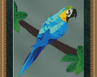 Cross Stitch Pattern Blue Gold Macaw Instant Download PdF