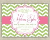 Pink & Green Chevron Bridal Shower Invitation. DIY Printable Baby Shower or Bridal Shower Invitation
