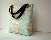 Large Oilcloth Tote Bag in World Map Design