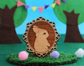 Wood laser cut brooch Adorable and cute little bunny rabbit cameo