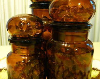 Set of 3 amber brown apothecary jars