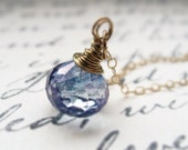 water droplet. necklace. (mystic blue quartz. teardrop gemstone. 14k gold. wire wrapped.)