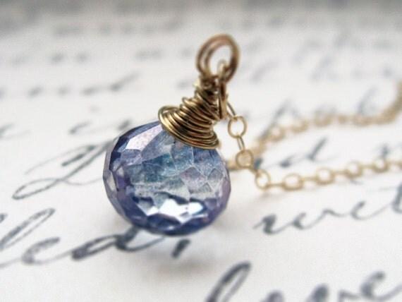 water droplet. necklace. (mystic blue quartz. teardrop gemstone. 14k gold. wire wrapped.)