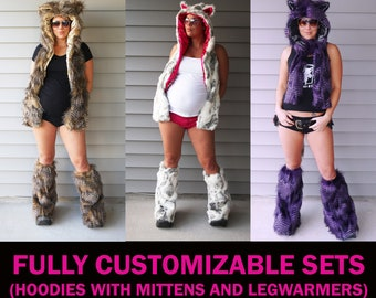 FULLY CUSTOMIZABLE SETS Furry Critter Hoodie - Scoodie Scarf with Mittens and Furry Leg Warmers