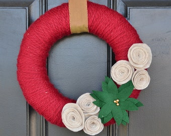 Christmas Yarn Wreath, Poinsettia Wreath, Handmade Christmas Wreath , Handmade Holiday Wreath, Christmas Decor,Holiday Decor