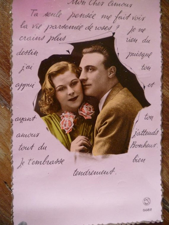 Vintage 1950 Postcard Romantic Vintage French Hand Colored Photo