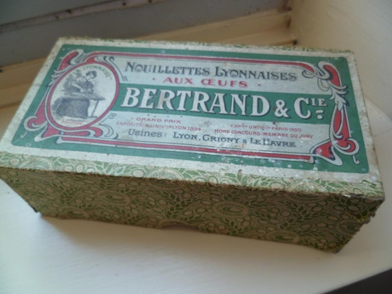 Vintage Bertrand Cie Nouillettes Lyonnaises Edwardian Advertising Packaging Paper Box