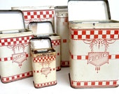 RESERVED FOR IRENE .Antique french kitchen canisters set .1910s . Kitchen containers .Kitchen storage. French canisters.Cottage .Shabby chic