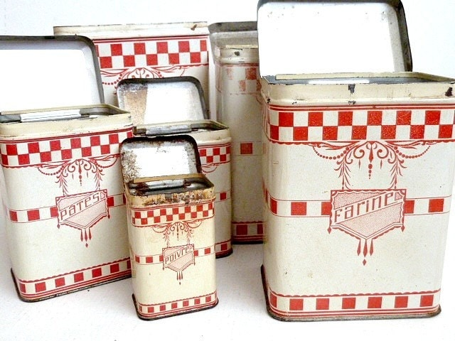 reserved for irene antique french kitchen canisters set