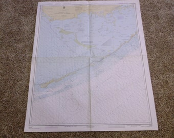 Vintage Florida Keys Nautical Chart, Alligator Reef to Sombrero Key, 1979