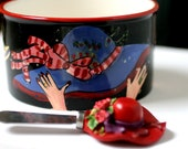 Red Hat Ladies Dip Bowl, Ceramic victorian Bowl with Butter Knife,
