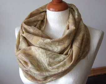 Fall foliage Linen floral loop infinity circle scarf / roses in dusty yellow shades of autumn /  natural linen circle scarf / fall fashion