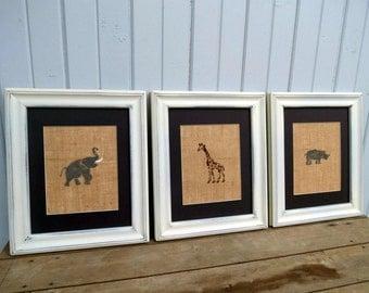Safari Nursery Elephant & Giraffe on Burlap 8 x 10 Set of 3 / Children's Wall Art / Nursery Decor