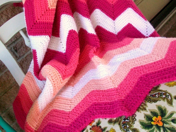 Pink and White Chevron Zig Zag Blanket Afghan Throw Crochet