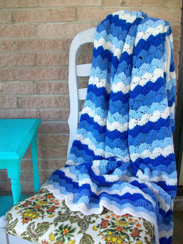 Chevron Crochet Afghan Stripes Blue White Crochet Afghan