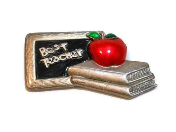 1980s AJC signed Best Teacher blackboard, books and apple pewter brooch with enamel eco-friendly