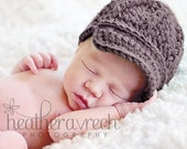 Crochet Baby Hat with Brim, Pageboy Style Newborn Beanie