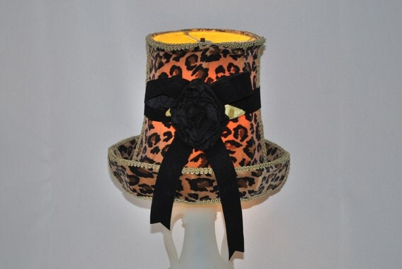 Leopard Lamp Shade Shabby Chic Velour Medium Small, Swinging Sixties