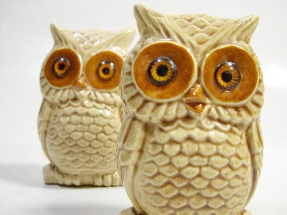 Vintage Ceramic Owl Pair Retro Mid Century, Speckled Creamy Colored Glaze, Brown Glass Eyes