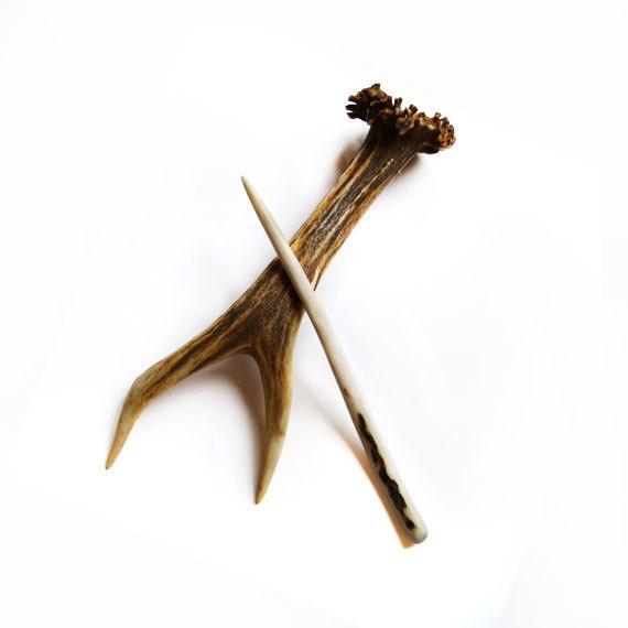 Shawl Pin Hair Stick Deer Antler Carving Hairpin Hair Accessory Tribal MariyaArts