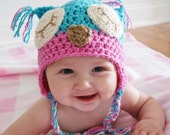 Sleepy Owl Hat in Turquoise and Pink 6-12 Months